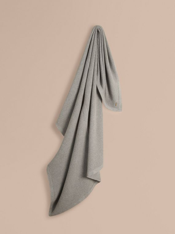 Rib Cashmere Blanket Light Grey Melange