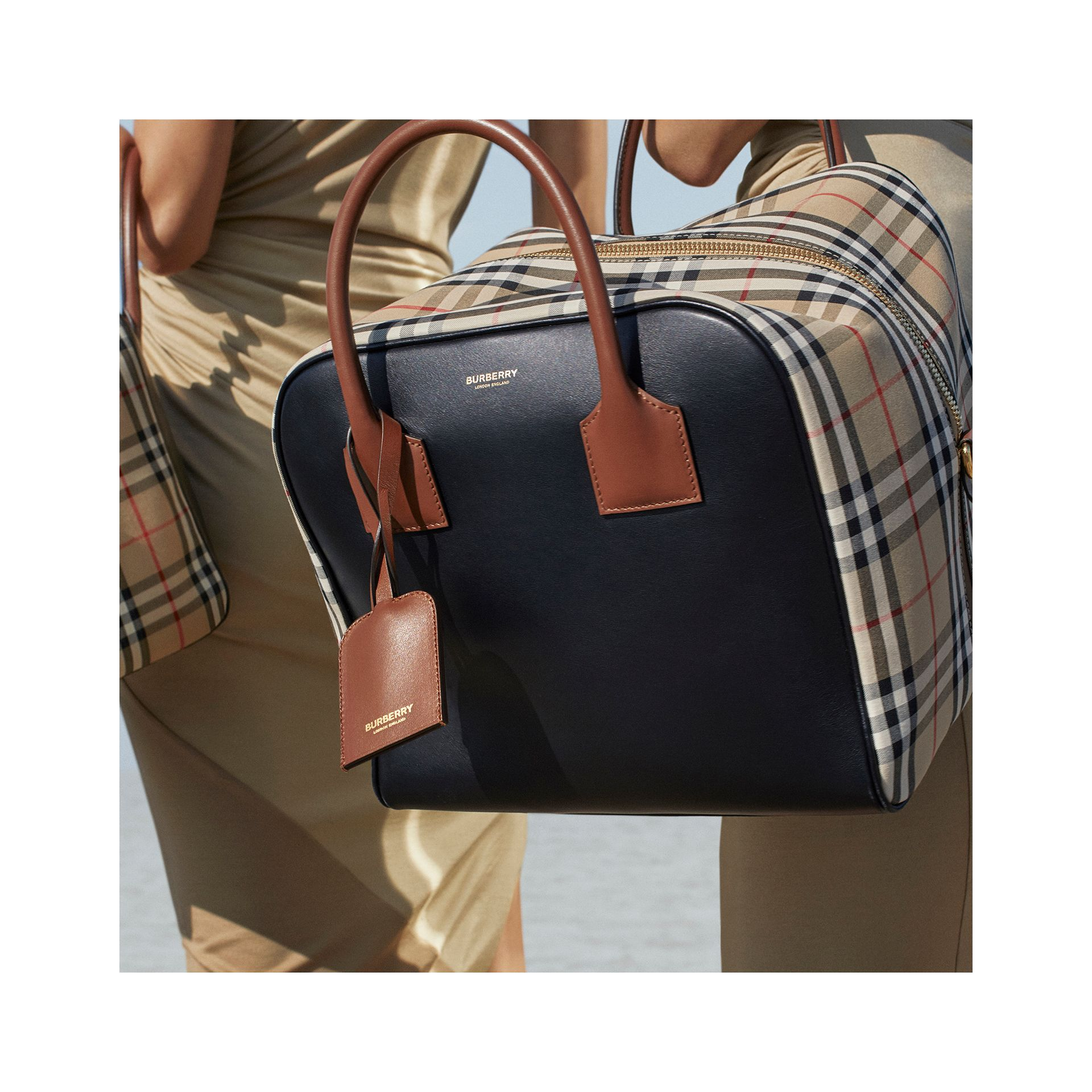 Medium Leather and Vintage Check Cube Bag in Archive Beige - Women | Burberry - gallery image 1