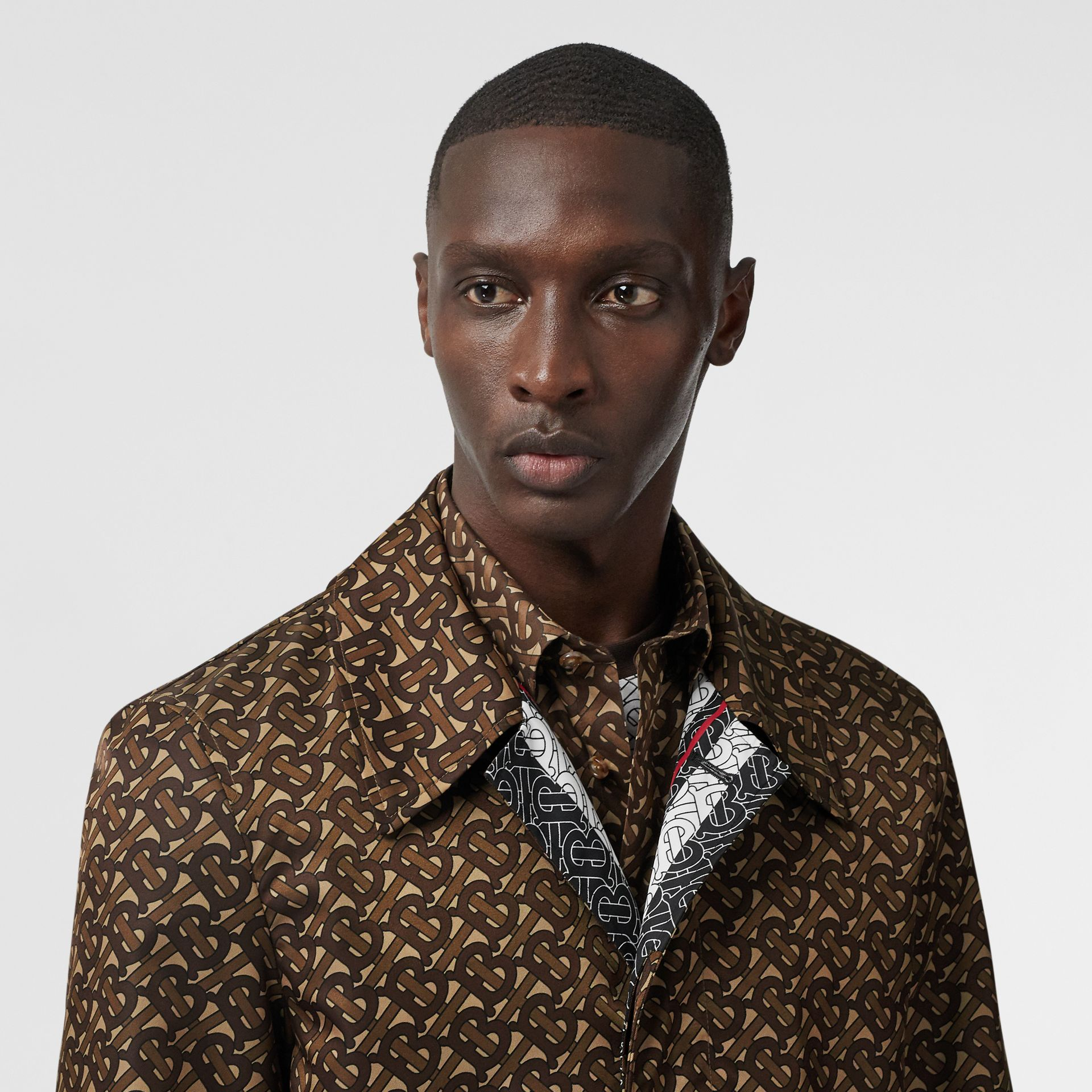 Monogram Stripe Print Nylon Car Coat in Bridle Brown - Men | Burberry - gallery image 8