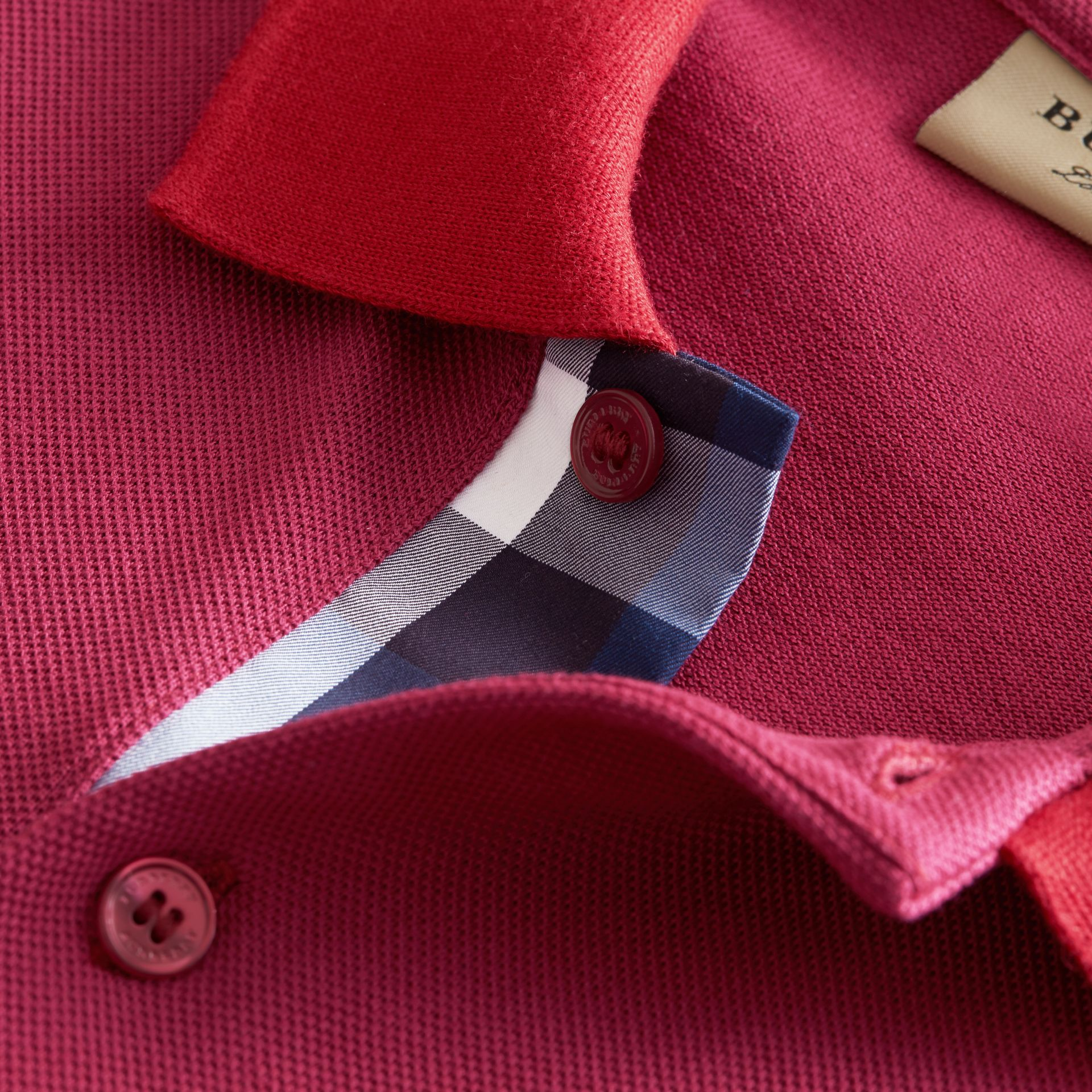 Two-tone Check Placket Cotton Piqué Polo Shirt Raspberry Sorbet - gallery image 2