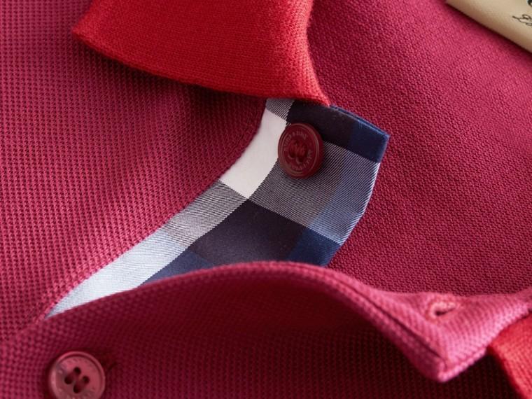 Two-tone Check Placket Cotton Piqué Polo Shirt Raspberry Sorbet - cell image 1