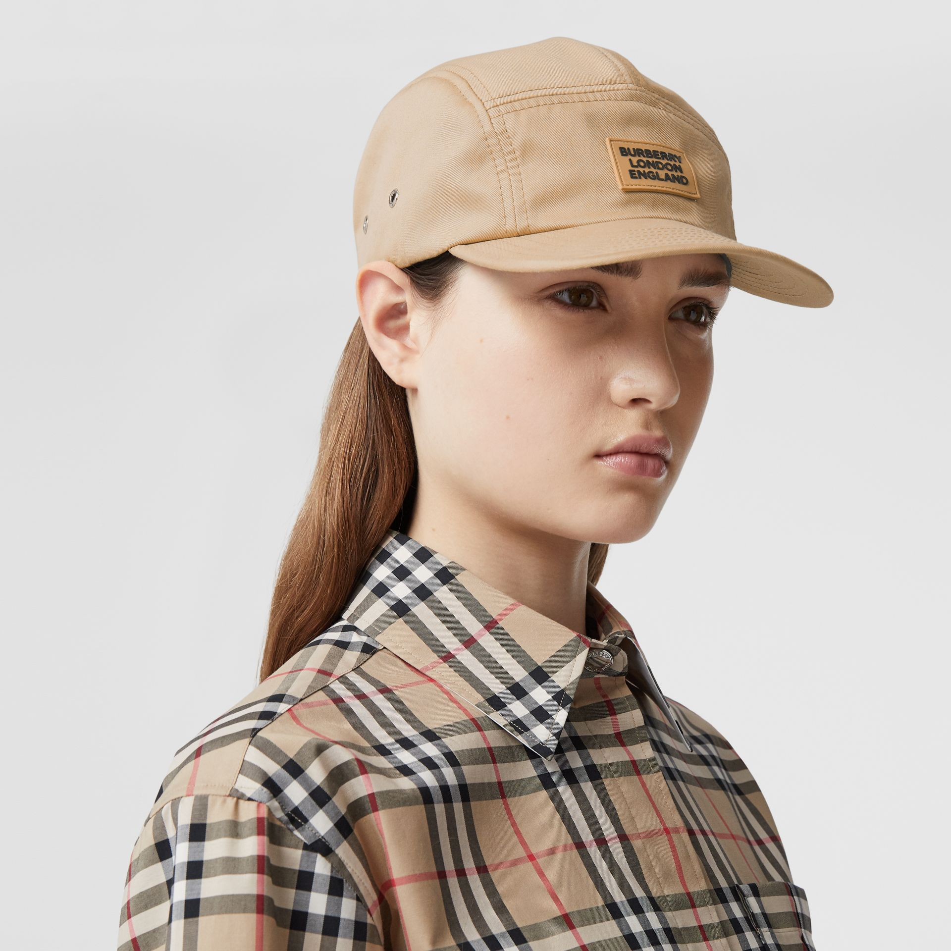 Logo Appliqué Cotton Twill Cap in Soft Fawn | Burberry - gallery image 2