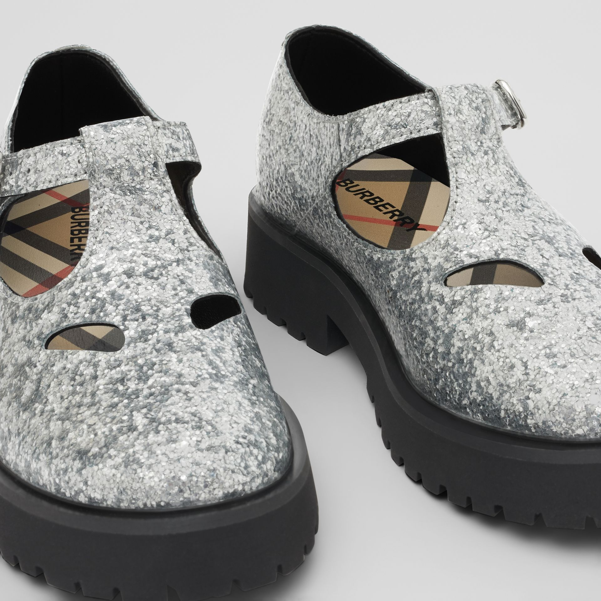 Glittery T-bar Shoes in Silver - Children | Burberry - gallery image 1