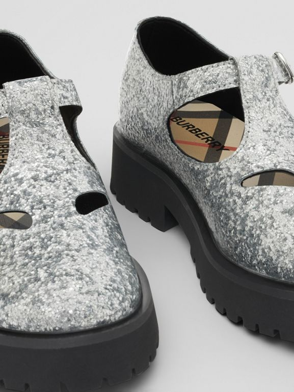 Glittery T-bar Shoes in Silver - Children | Burberry United Kingdom - cell image 1