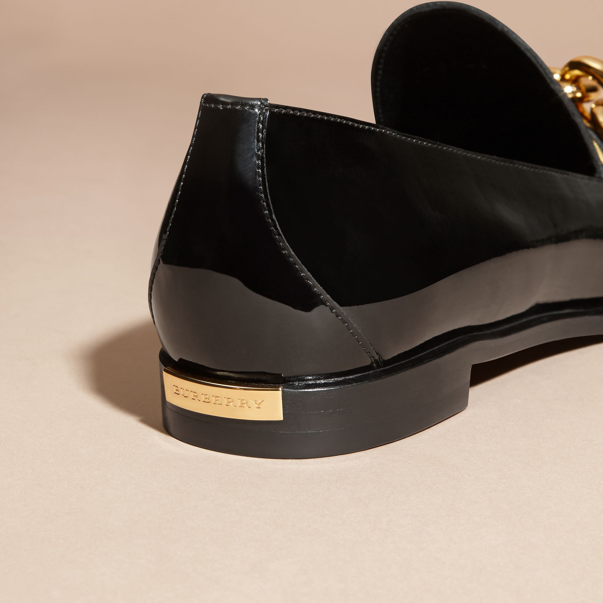 Black/gold Chain Detail Leather Loafers - gallery image 5