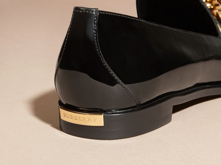 Black/gold Chain Detail Leather Loafers - cell image 4