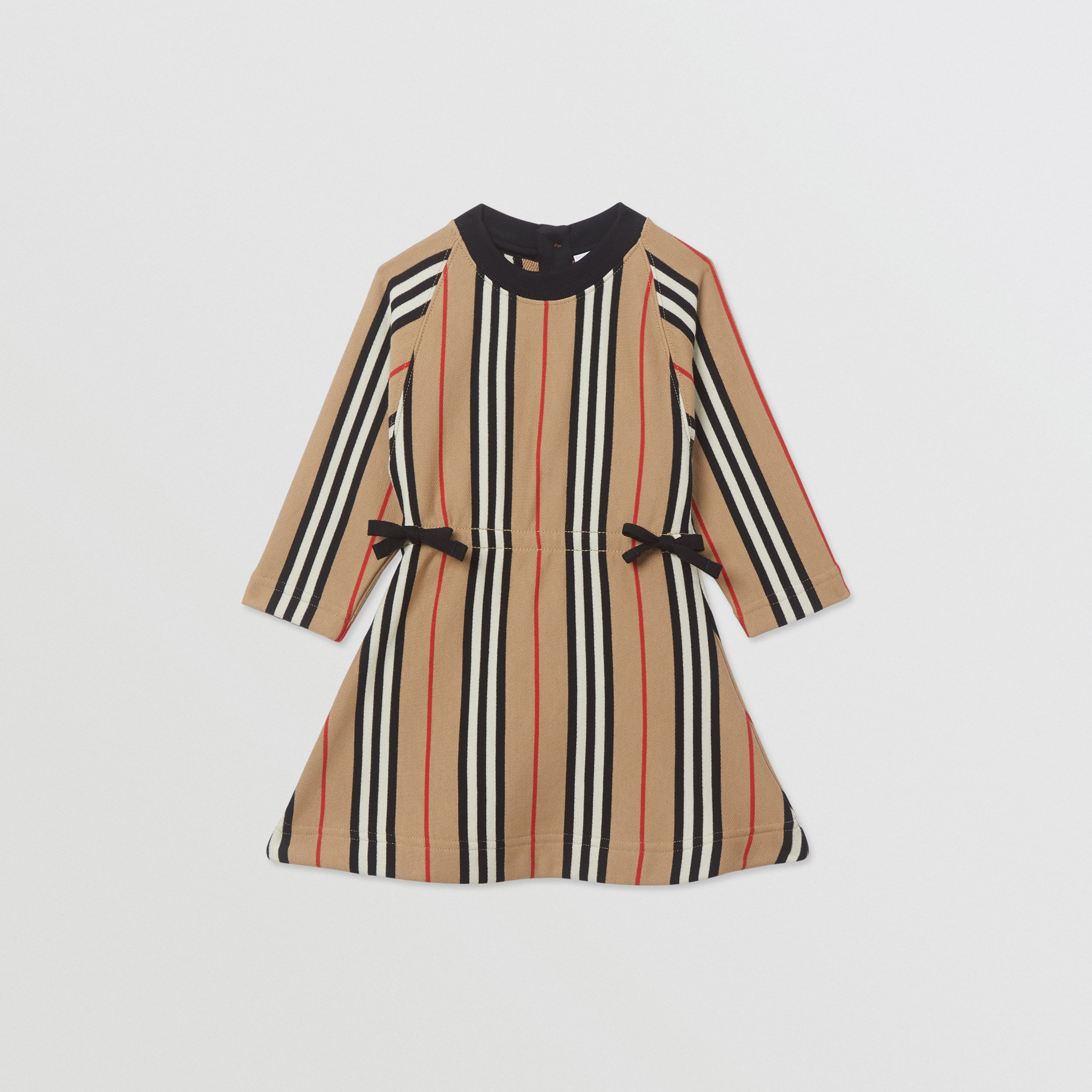 Long-sleeve Icon Stripe Cotton Dress in Archive Beige - Children | Burberry Australia - 1