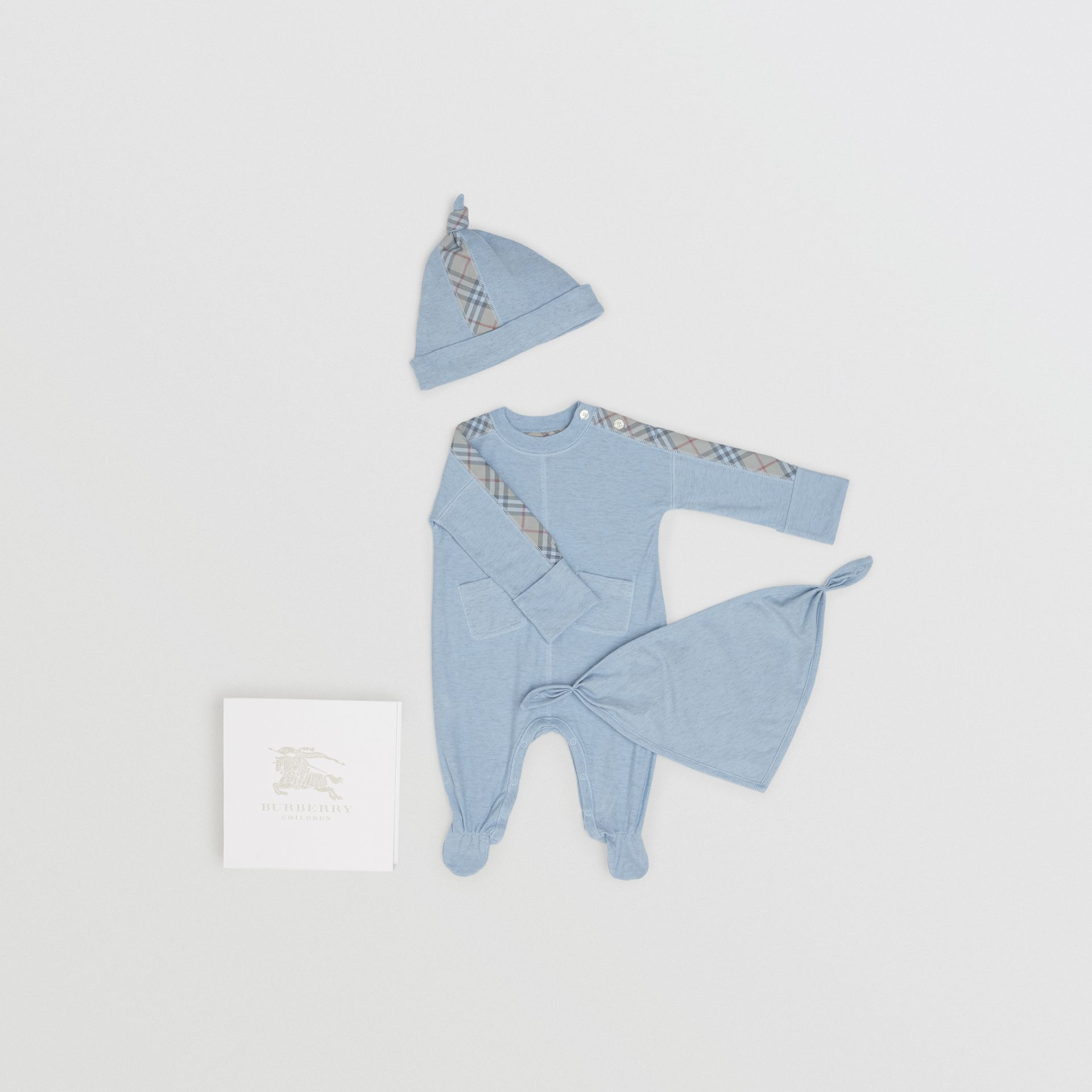 Check Cotton Three-piece Baby Gift Set in Pale Carbon Blue - Children | Burberry - gallery image 0