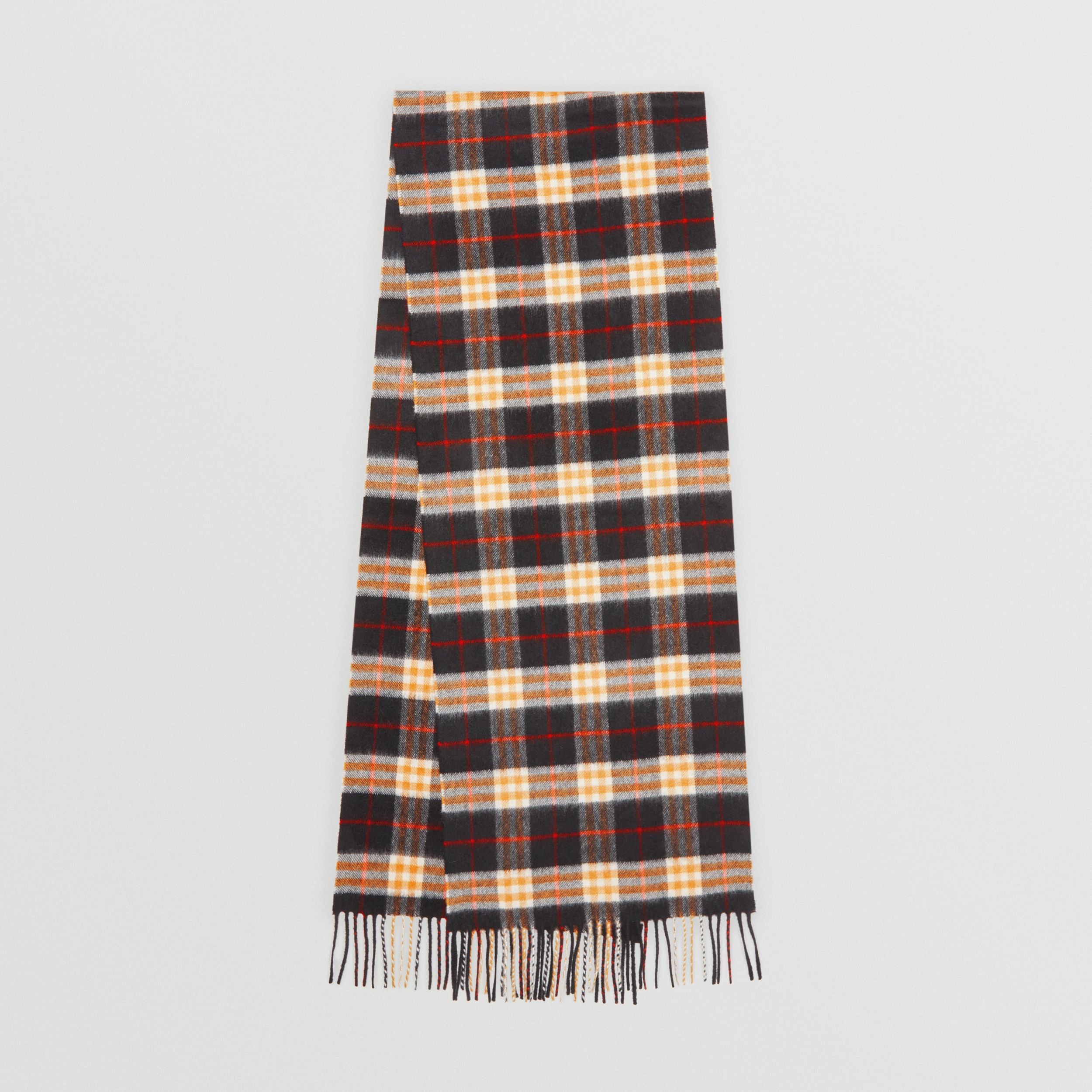 Check Cashmere Scarf in Black | Burberry - 1