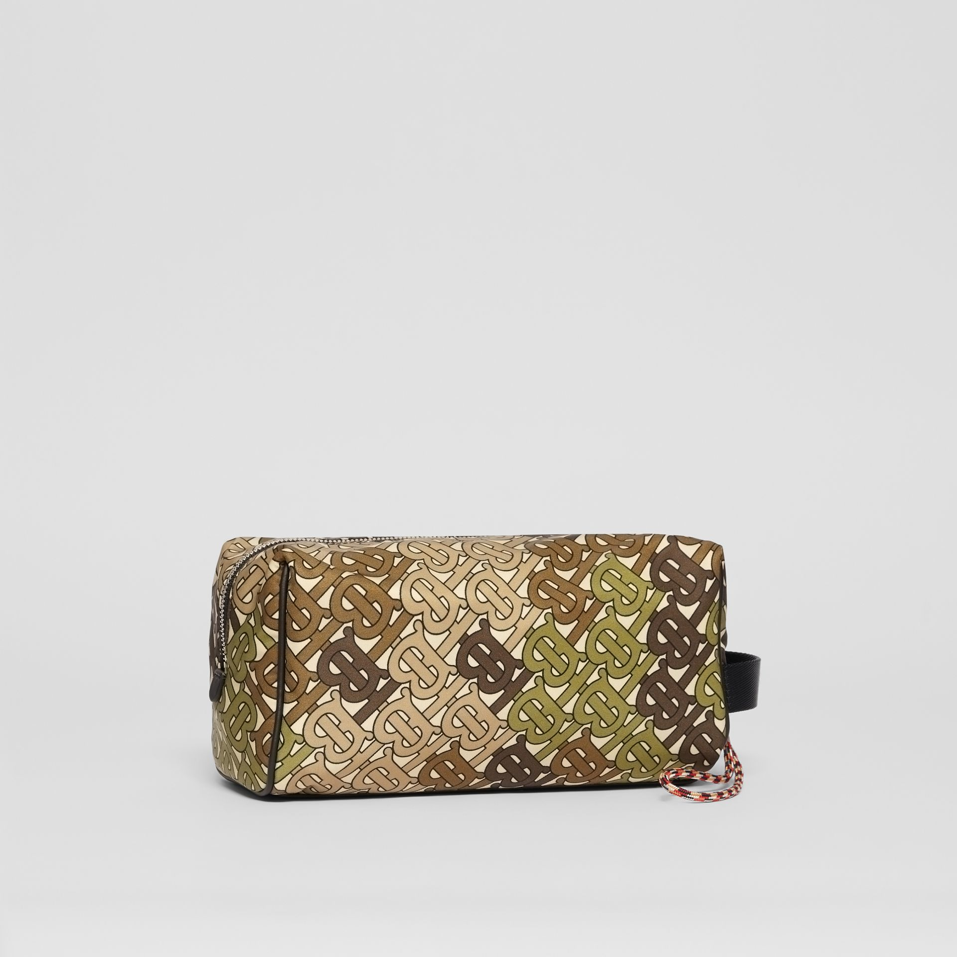 Monogram Print Nylon Pouch in Khaki Green - Men | Burberry Australia - gallery image 2