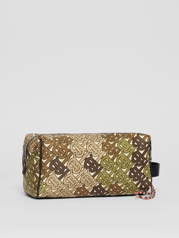 Monogram Print Nylon Pouch in Khaki Green - Men | Burberry Australia - cell image 2
