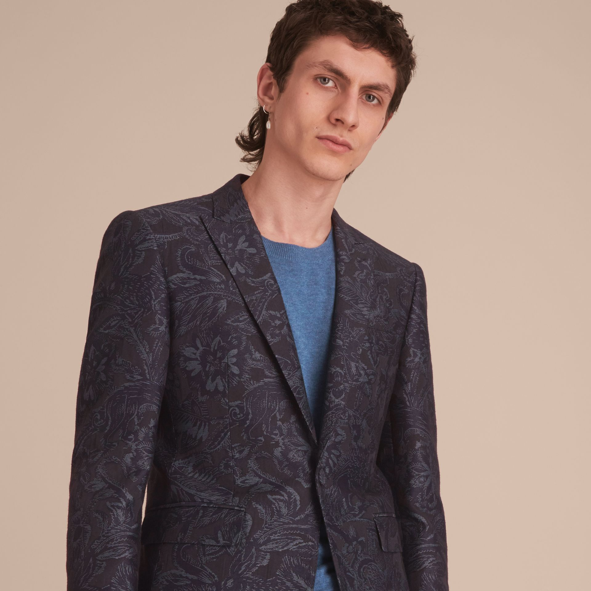 Slim Fit Beasts Fil Coupé Wool Silk Tailored Jacket in Stone Blue - Men | Burberry - gallery image 5