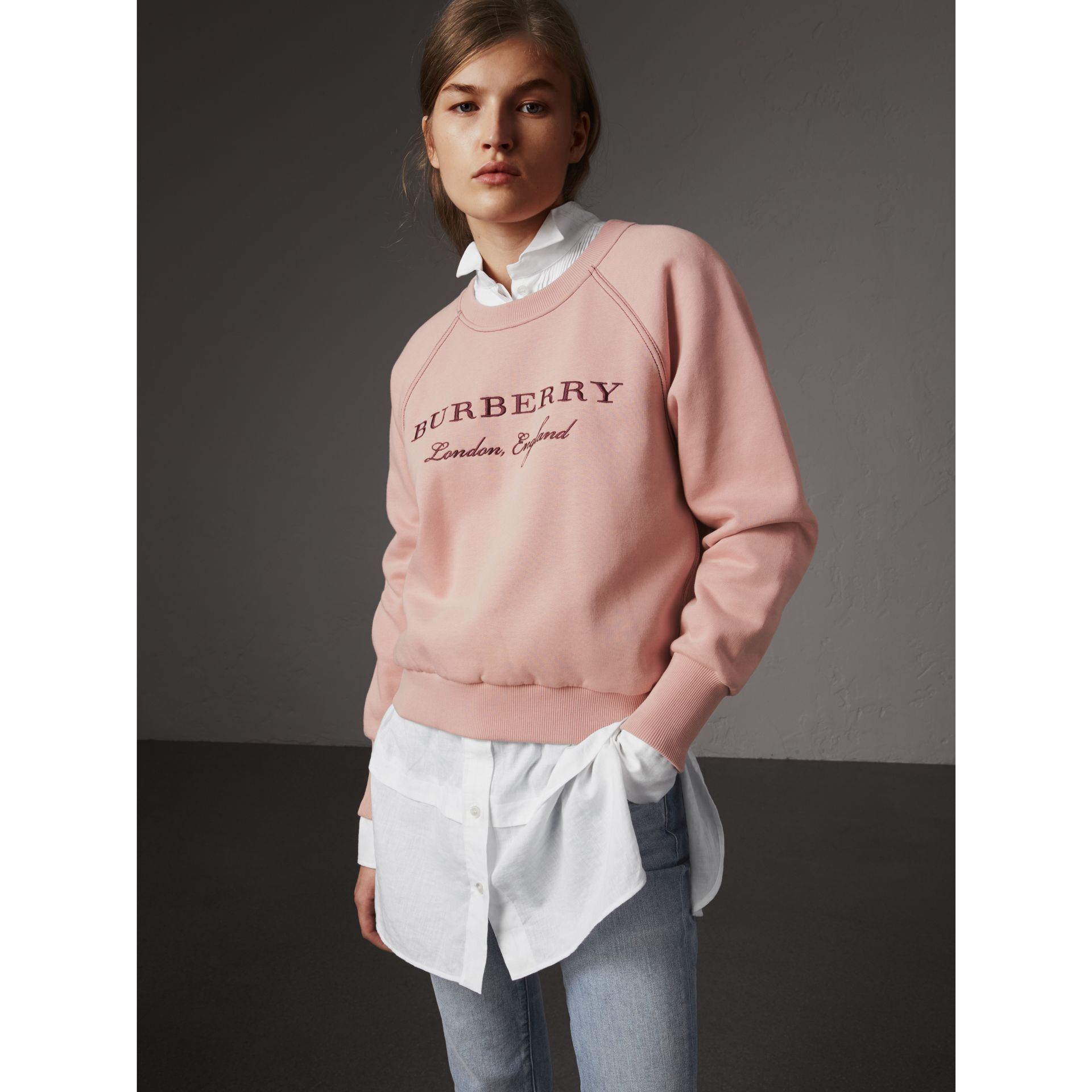Embroidered Cotton Blend Jersey Sweatshirt in Ash Rose - Women | Burberry United Kingdom - gallery image 1