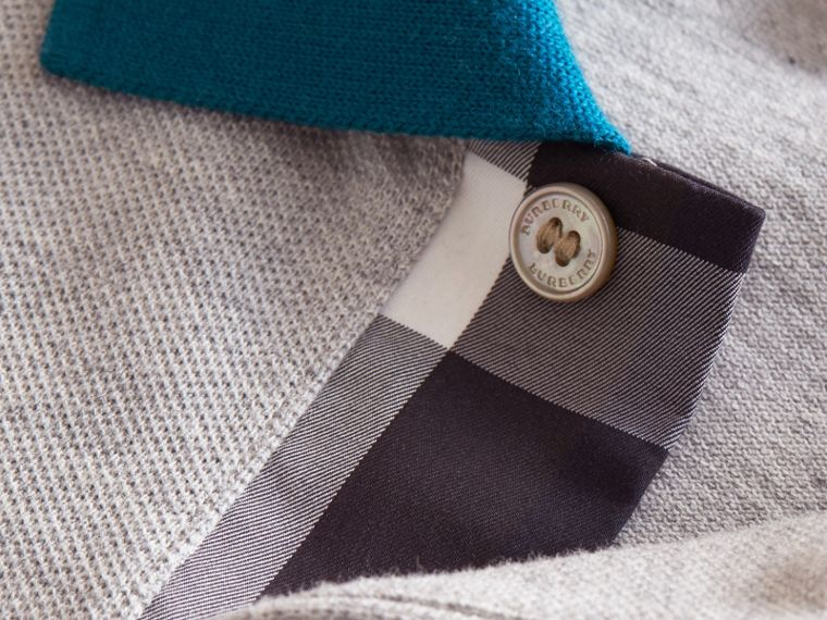 Two-tone Check Placket Cotton Piqué Polo Shirt in Pale Grey Melange - cell image 1