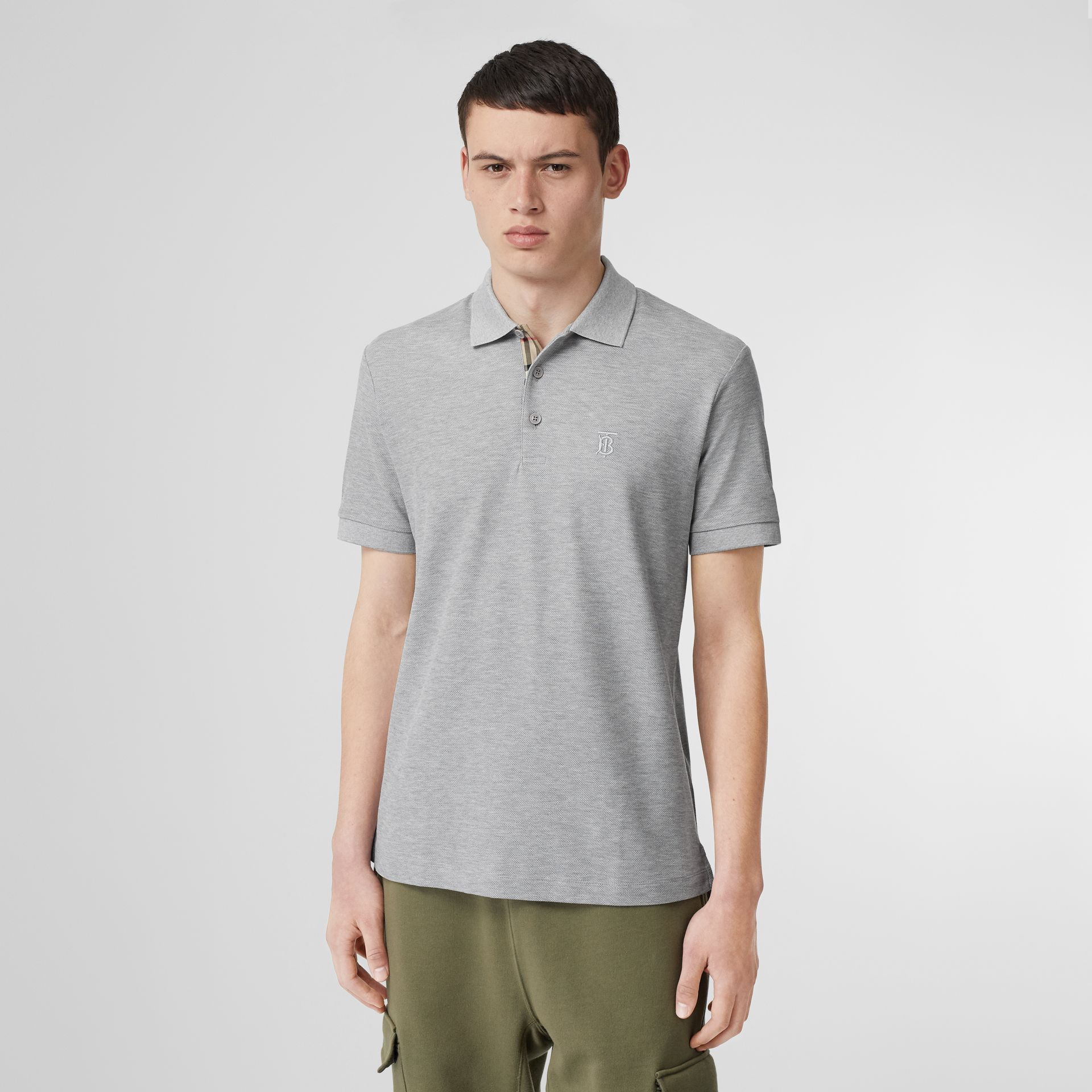 Monogram Motif Cotton Piqué Polo Shirt in Pale Grey Melange - Men | Burberry Canada - gallery image 4