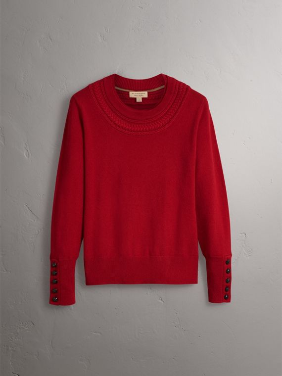 Cable Knit Yoke Cashmere Sweater in Military Red - Women | Burberry - cell image 3