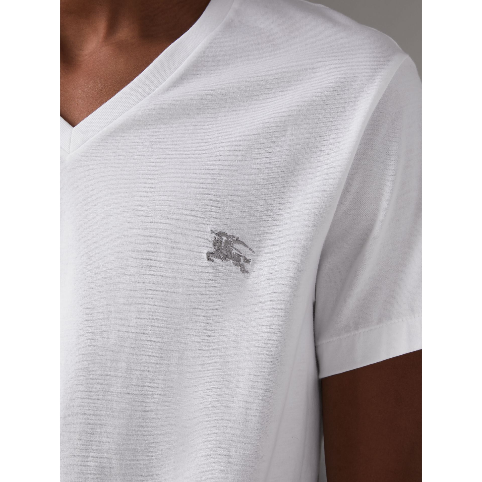 Cotton Jersey T-shirt in White - Men | Burberry United Kingdom - gallery image 1