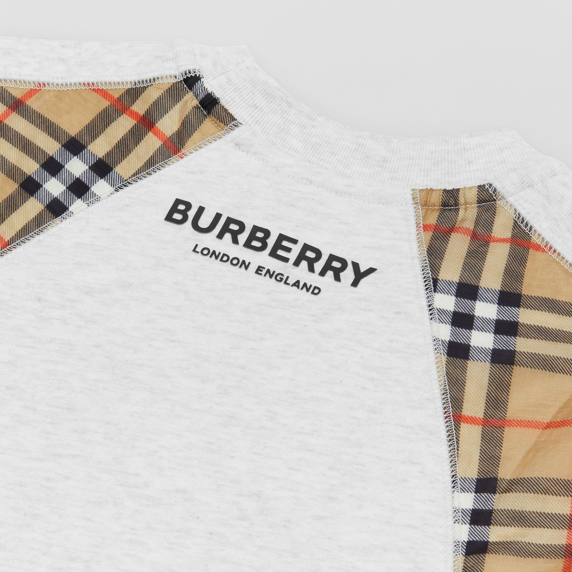 Vintage Check Panel Cotton Sweater Dress in White Melange | Burberry United Kingdom - gallery image 1