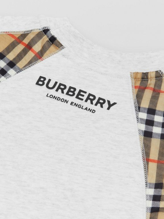 Vintage Check Panel Cotton Sweater Dress in White Melange | Burberry - cell image 1