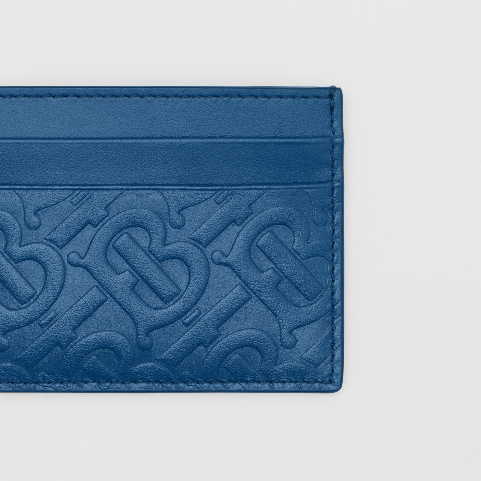 Monogram Leather Card Case in Pale Canvas Blue - Men | Burberry Hong Kong S.A.R - gallery image 1