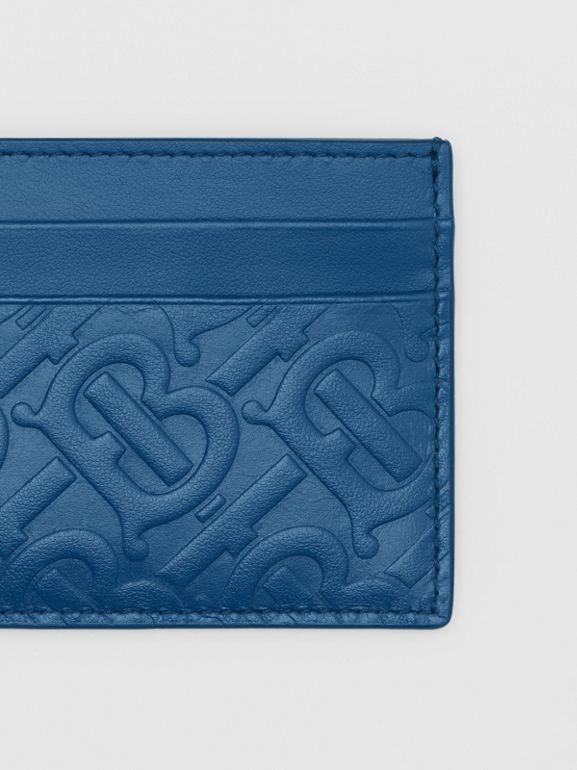 Monogram Leather Card Case in Pale Canvas Blue - Men | Burberry Hong Kong S.A.R - cell image 1