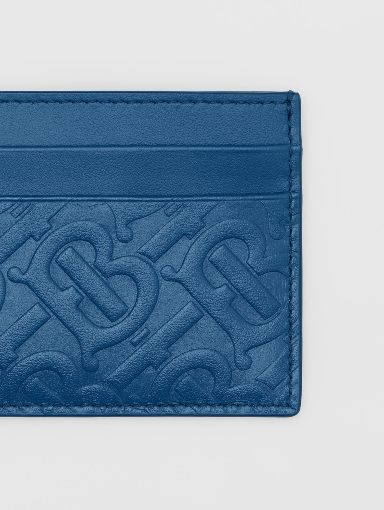 Monogram Leather Card Case in Pale Canvas Blue
