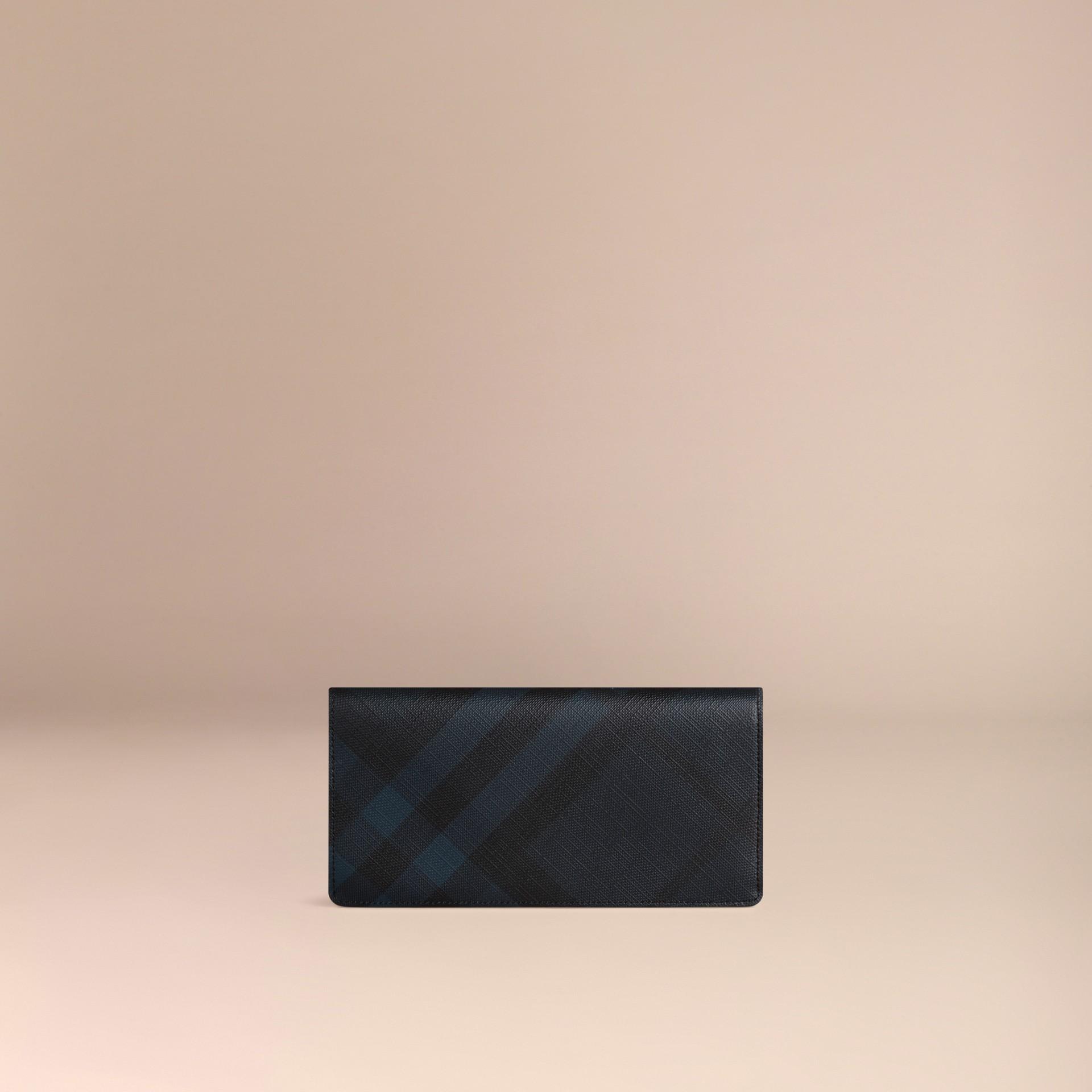 Marine/noir Portefeuille continental à motif Smoked check Marine/noir - photo de la galerie 3