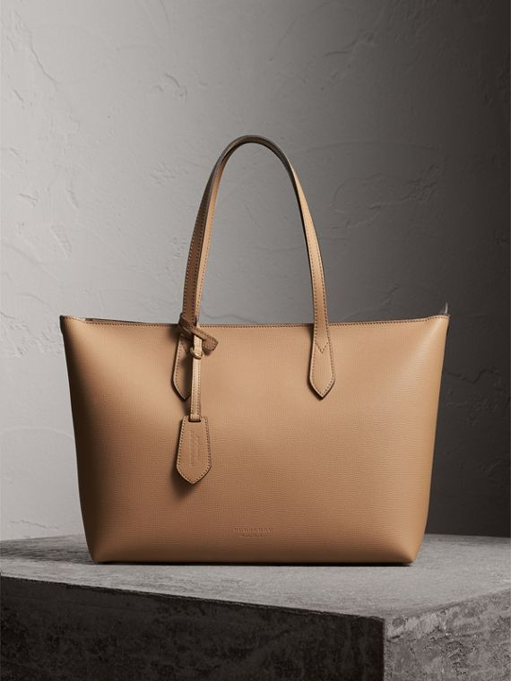 Medium Coated Leather Tote in Mid Camel - Women | Burberry Australia