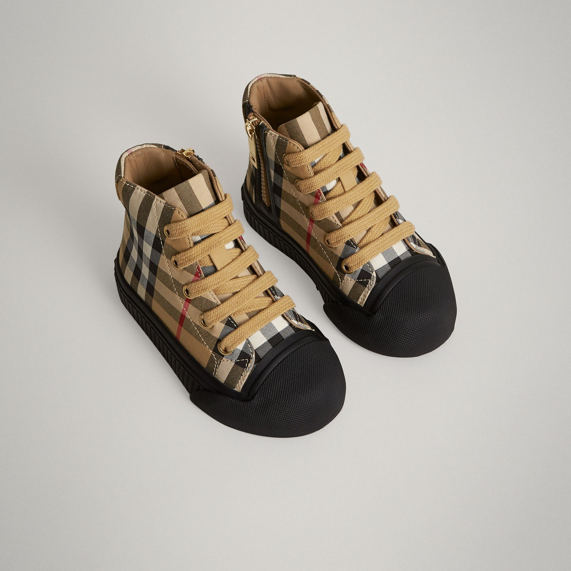 Vintage Check and Leather High-top Sneakers in Antique Yellow/black - Children | Burberry Canada - gallery image 0