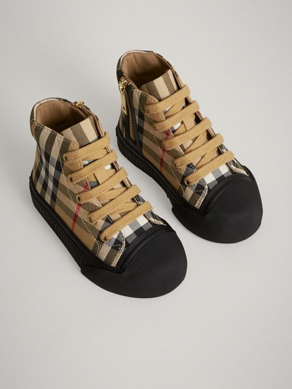 Vintage Check and Leather High-top Sneakers in Antique Yellow/black