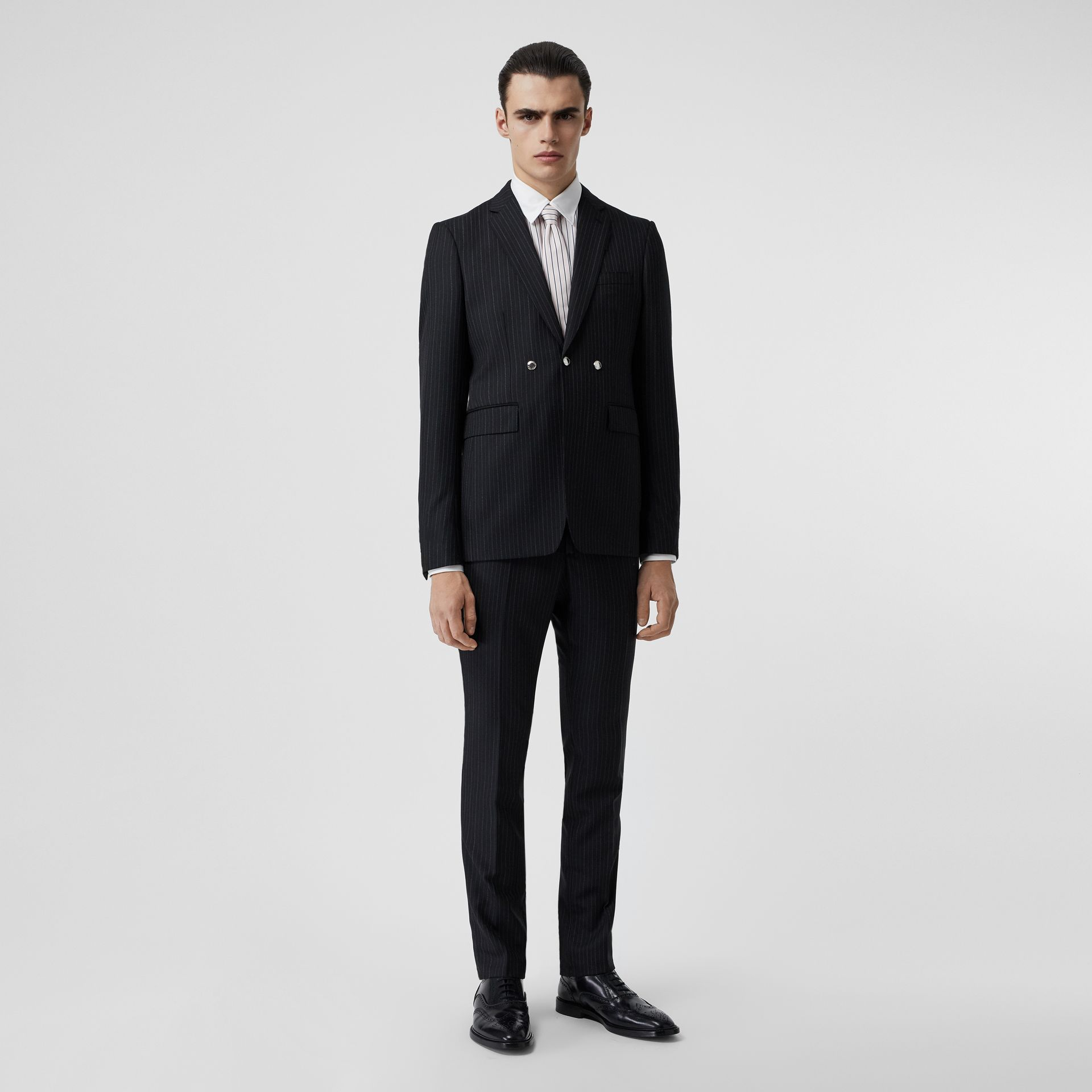 English Fit Triple Stud Pinstriped Wool Tailored Jacket in Black - Men | Burberry Canada - gallery image 0