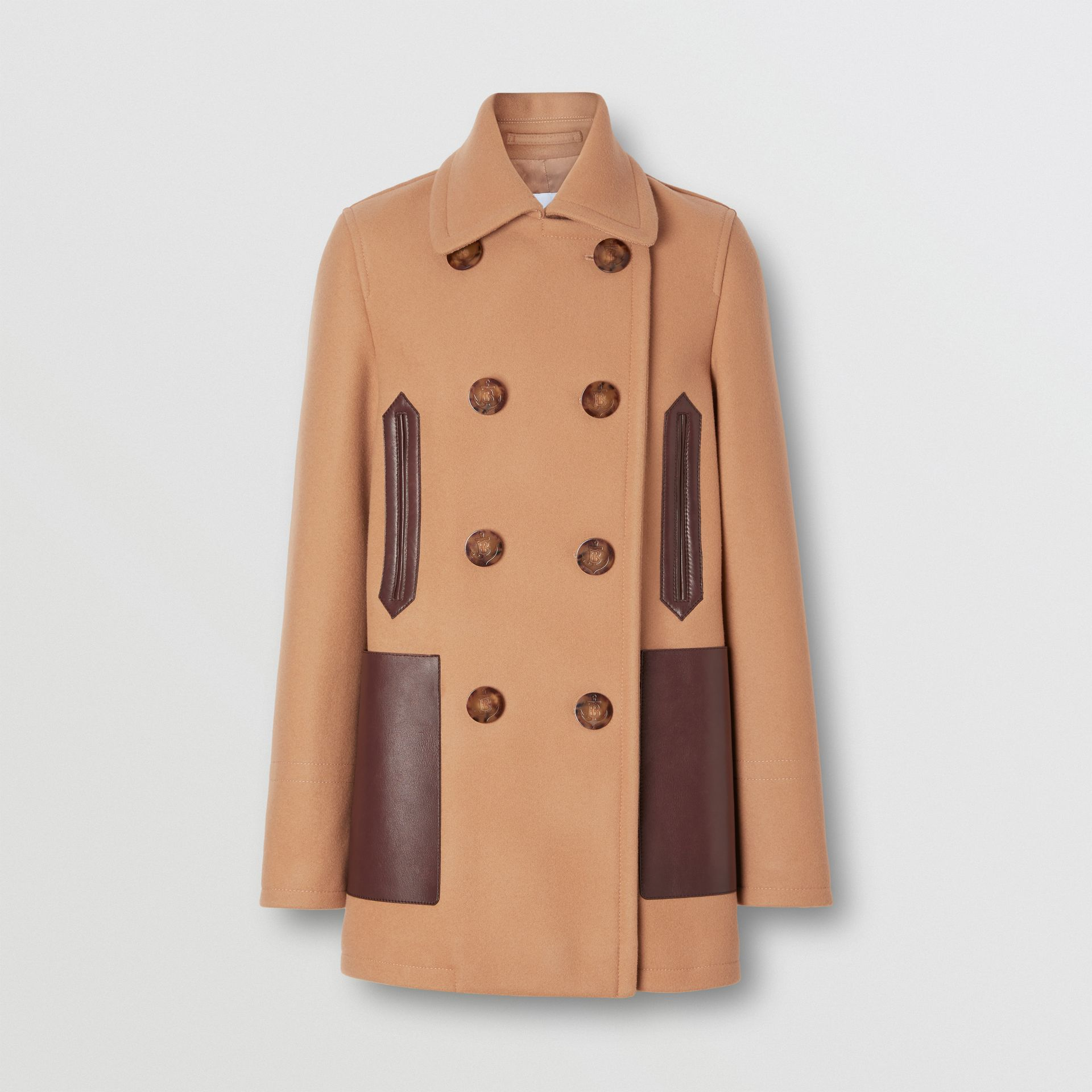 Lambskin Pocket Wool Blend Pea Coat in Camel - Women | Burberry - gallery image 3