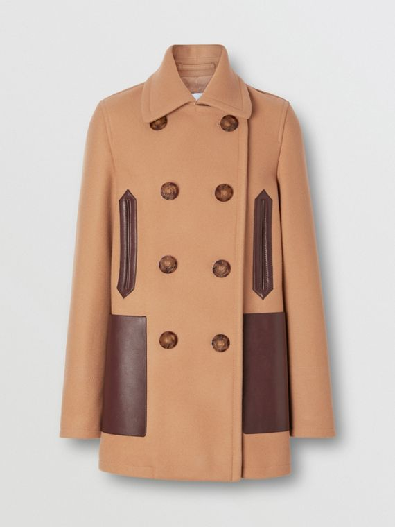 Lambskin Pocket Wool Blend Pea Coat in Camel