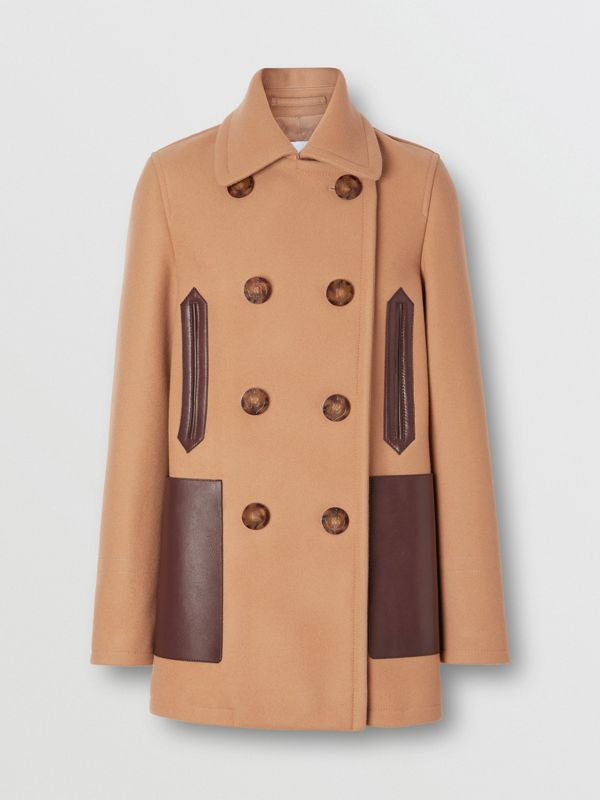 Lambskin Pocket Wool Blend Pea Coat in Camel - Women | Burberry United States - cell image 3