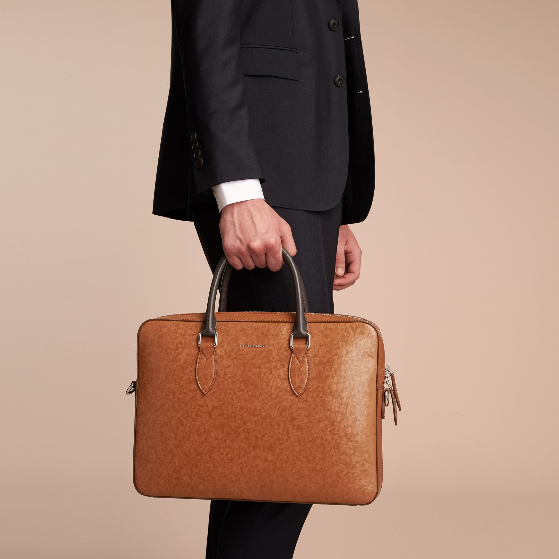 London Leather Briefcase in Tan/chocolate - Men | Burberry - gallery image 3