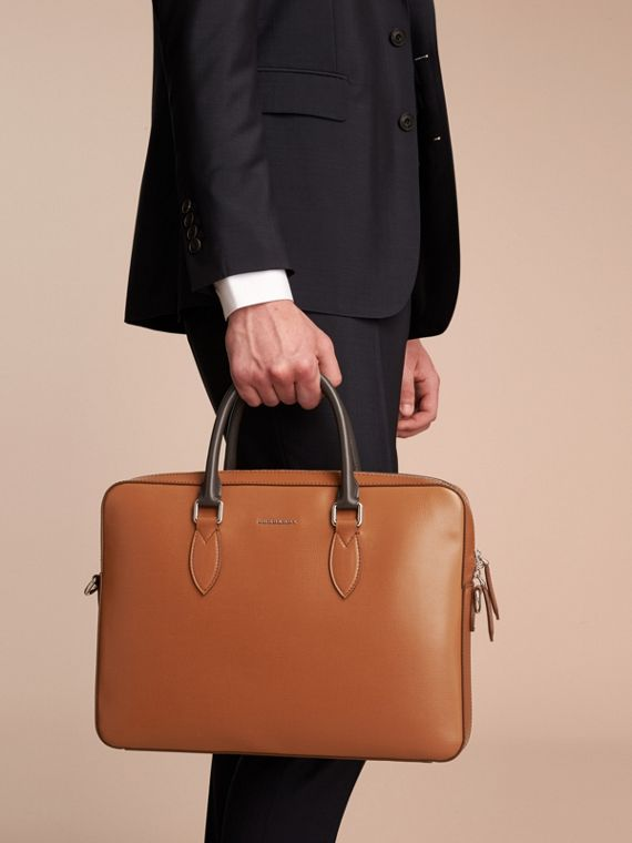 London Leather Briefcase in Tan/chocolate - Men | Burberry - cell image 2