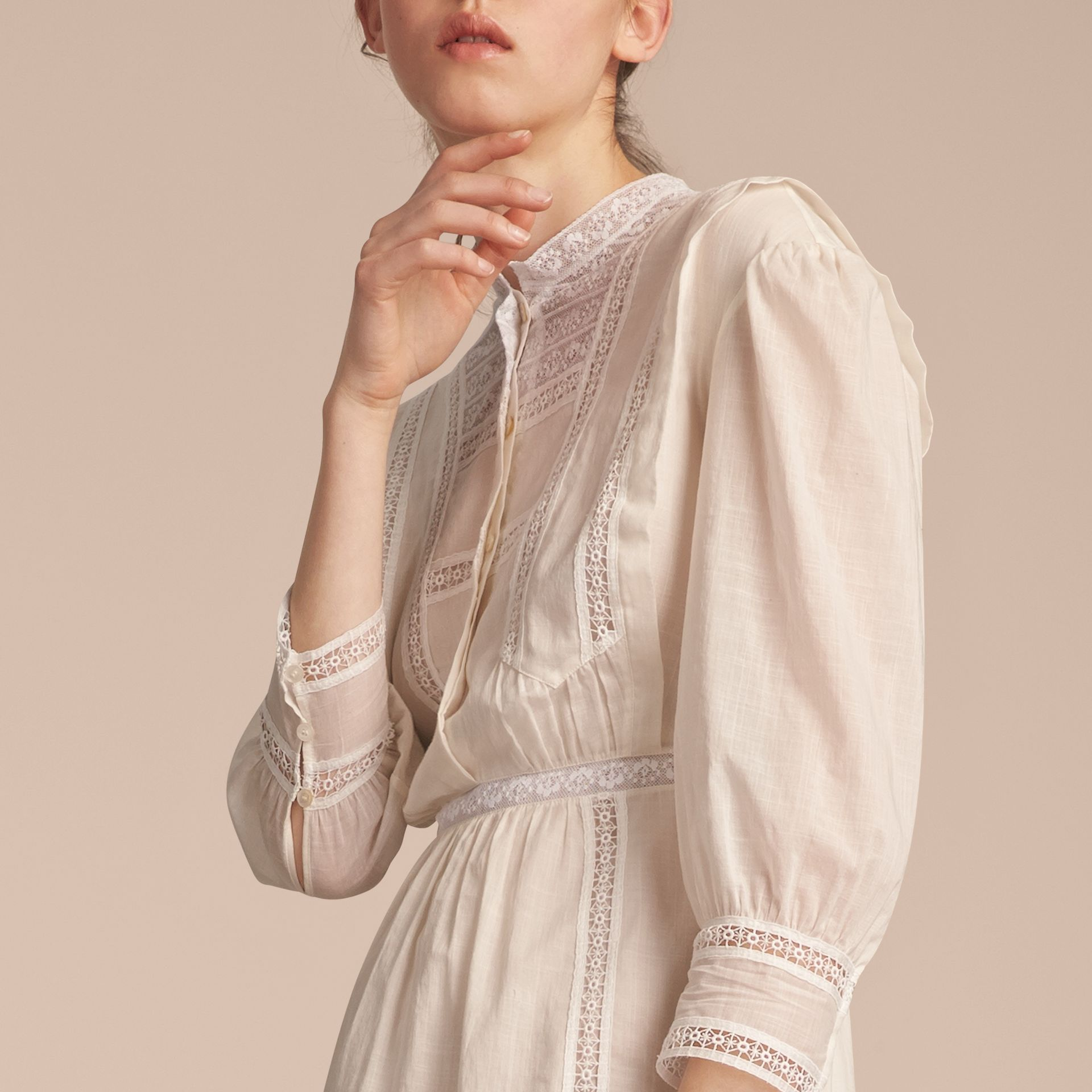 Lace Detail Cotton Voile Dress in Natural White - Women | Burberry - gallery image 5