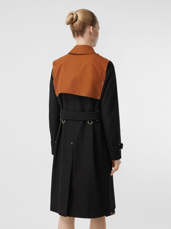 Two-tone Cotton Gabardine Trench Coat in Black - Women | Burberry Australia - cell image 2