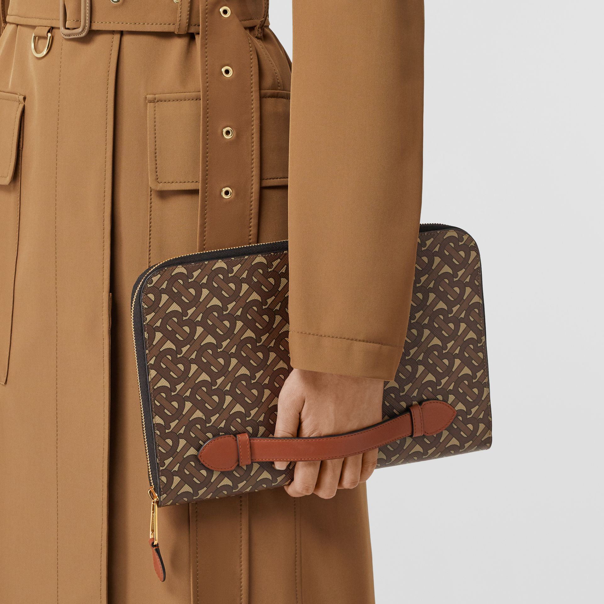 Monogram Print E-canvas and Leather Ziparound Pouch in Bridle Brown | Burberry Hong Kong S.A.R - gallery image 2