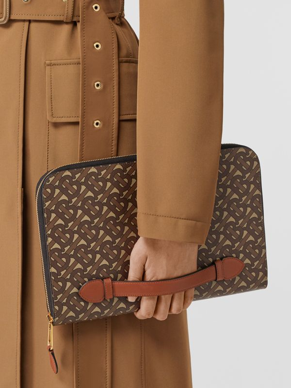 Monogram Print E-canvas and Leather Ziparound Pouch in Bridle Brown | Burberry Hong Kong S.A.R - cell image 2