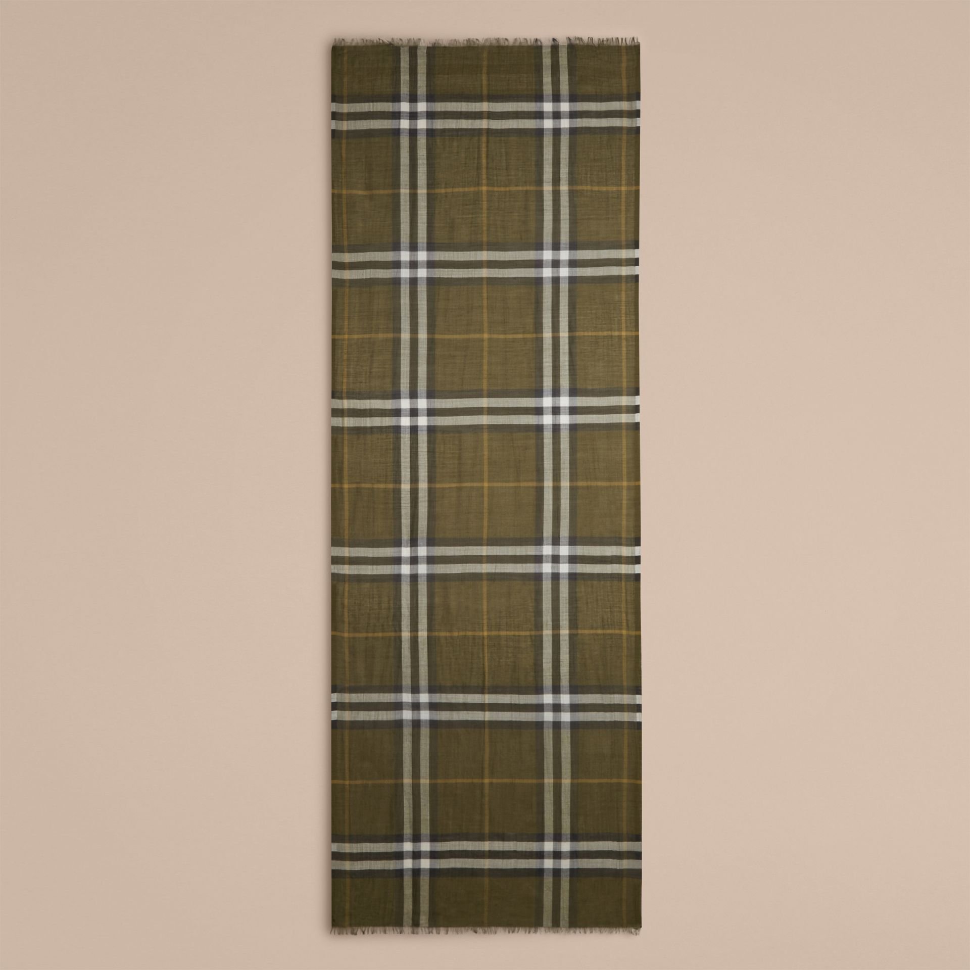 Olive green Lightweight Check Wool and Silk Scarf Olive Green - gallery image 4