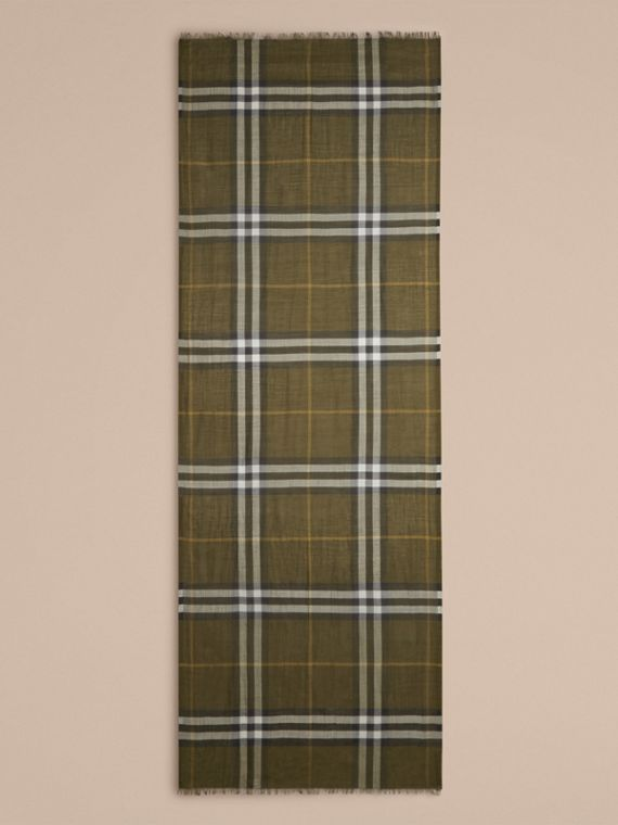 Olive green Lightweight Check Wool and Silk Scarf Olive Green - cell image 3