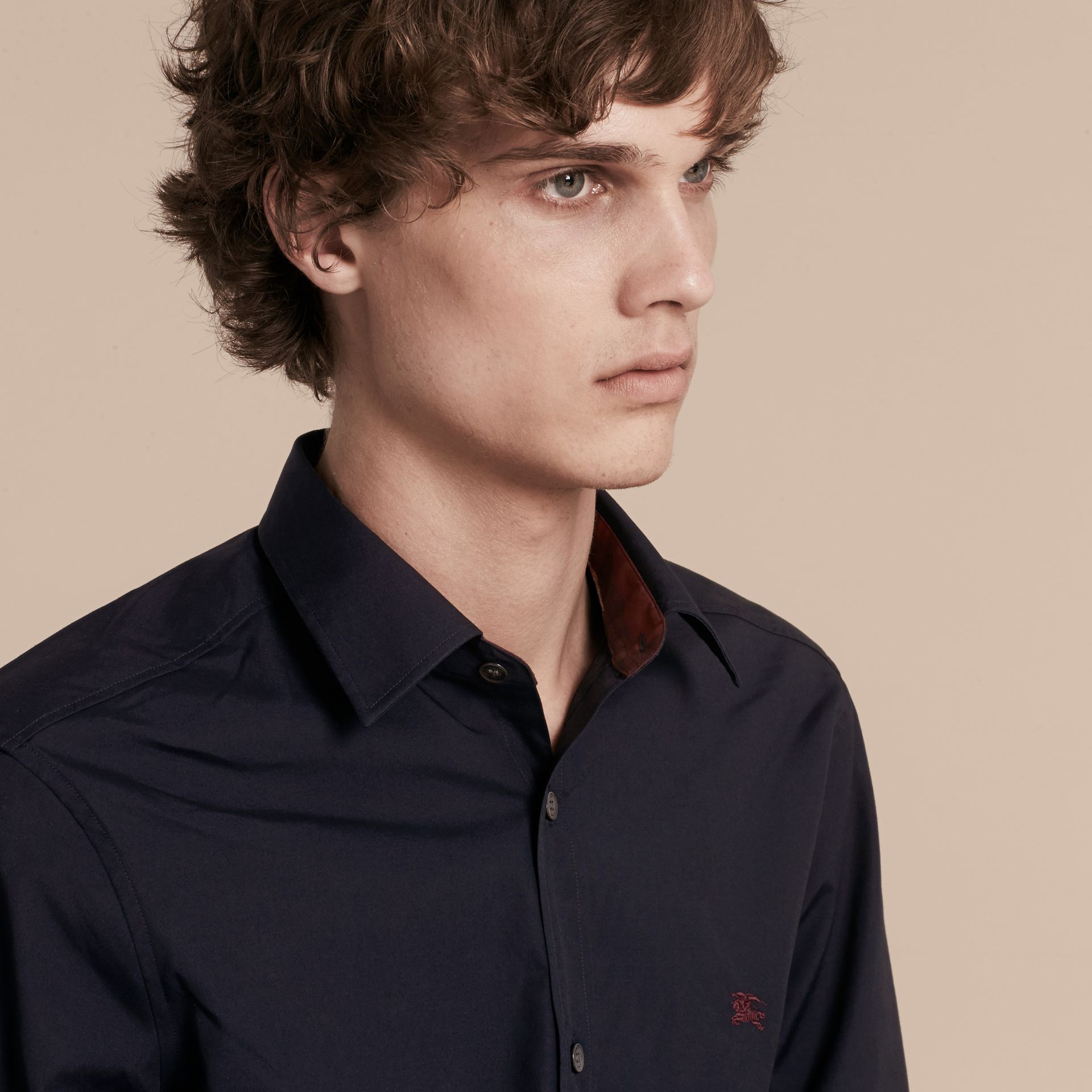 Navy Check Detail Stretch Cotton Shirt Navy - gallery image 5