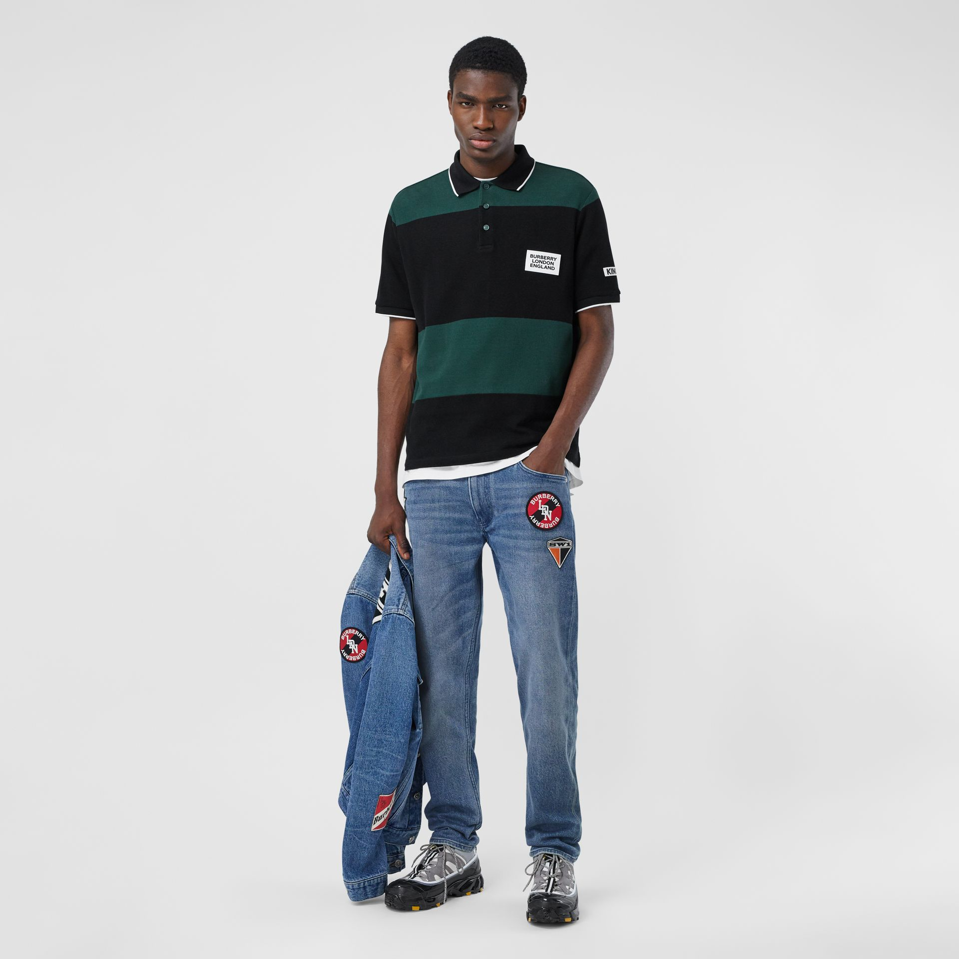 Slim Fit Logo Graphic Washed Jeans in Light Indigo Blue - Men | Burberry - gallery image 0