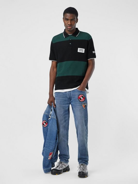 Slim Fit Logo Graphic Washed Jeans in Light Indigo Blue