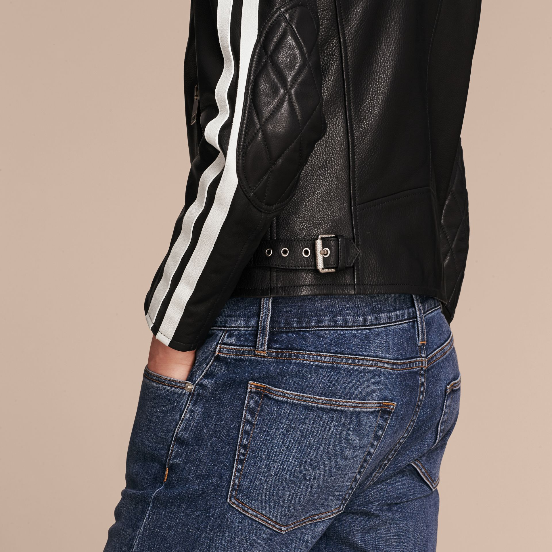 Black Stripe Detail Leather Jacket - gallery image 6