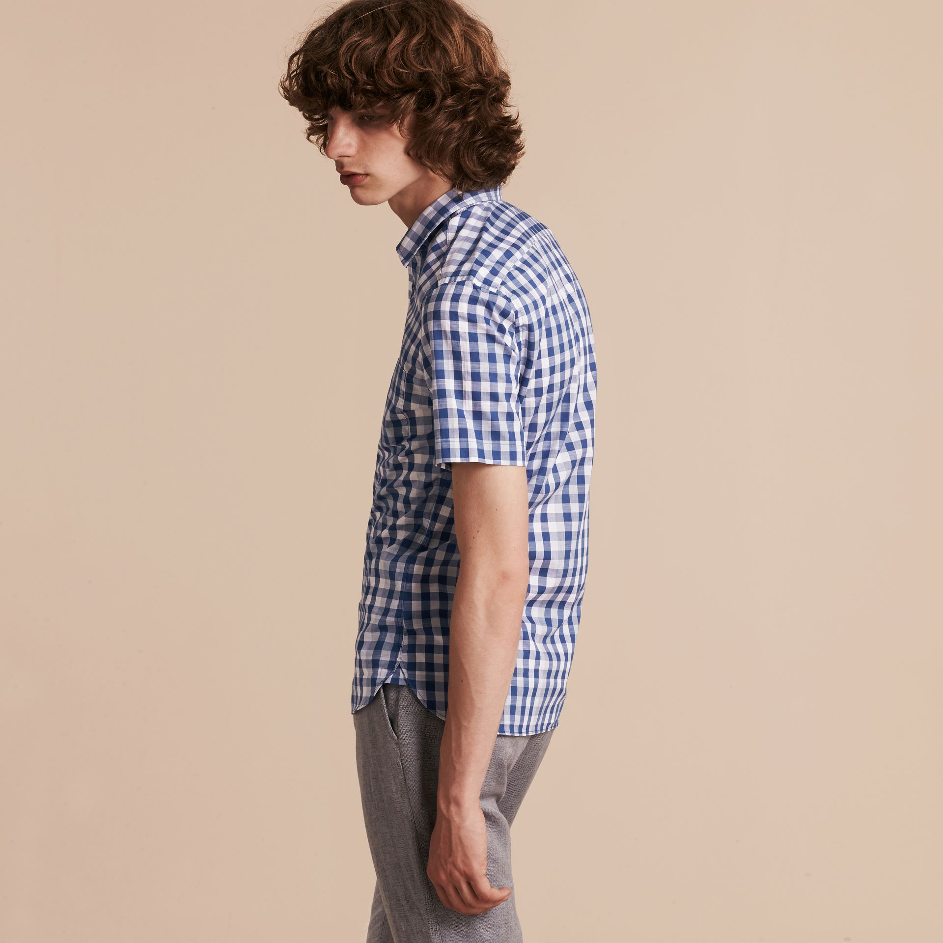 Bright steel blue Short-sleeved Gingham Cotton Shirt Bright Steel Blue - gallery image 3