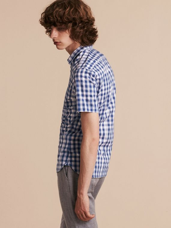 Bright steel blue Short-sleeved Gingham Cotton Shirt Bright Steel Blue - cell image 2