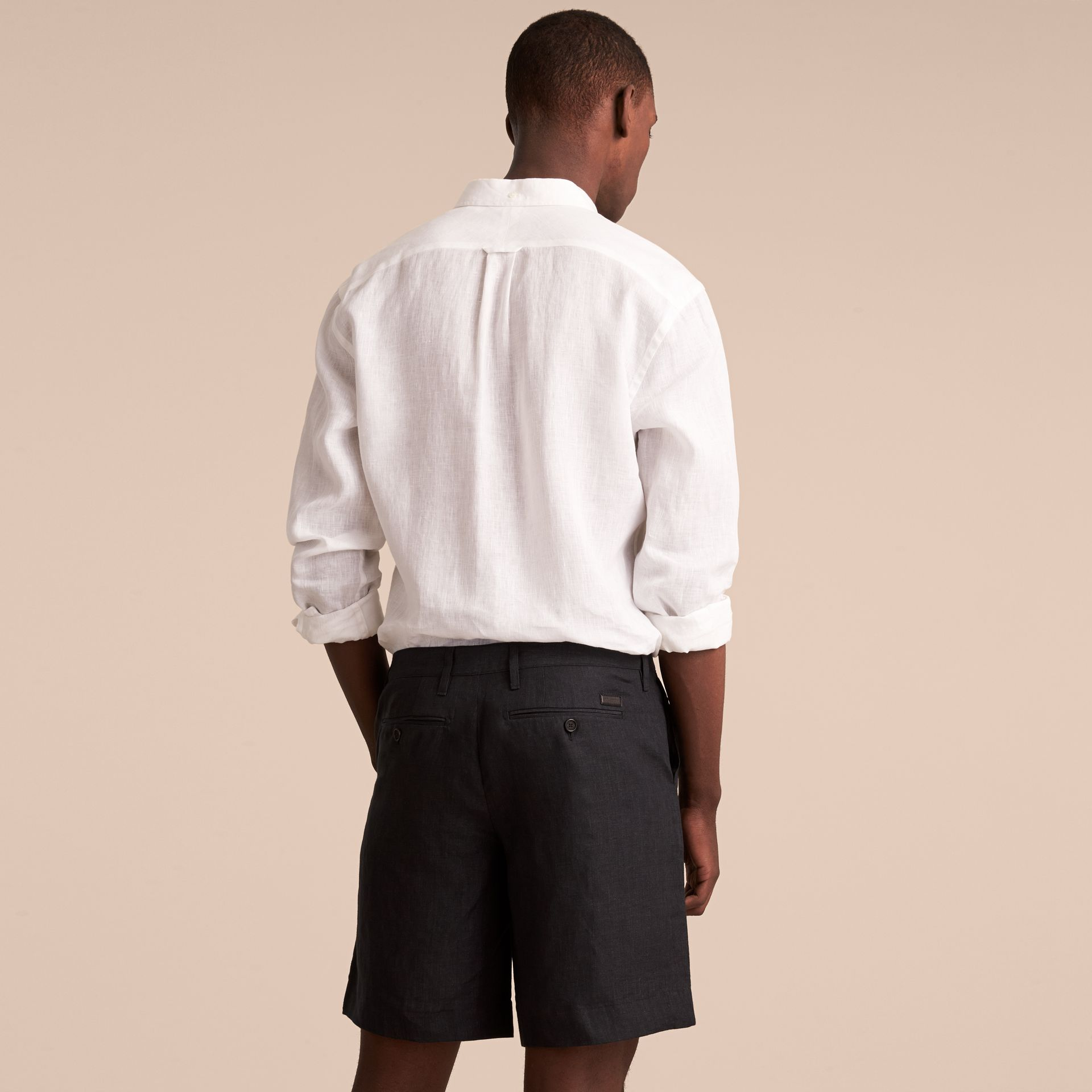 Lightweight Linen Shorts in Charcoal - Men | Burberry - gallery image 3