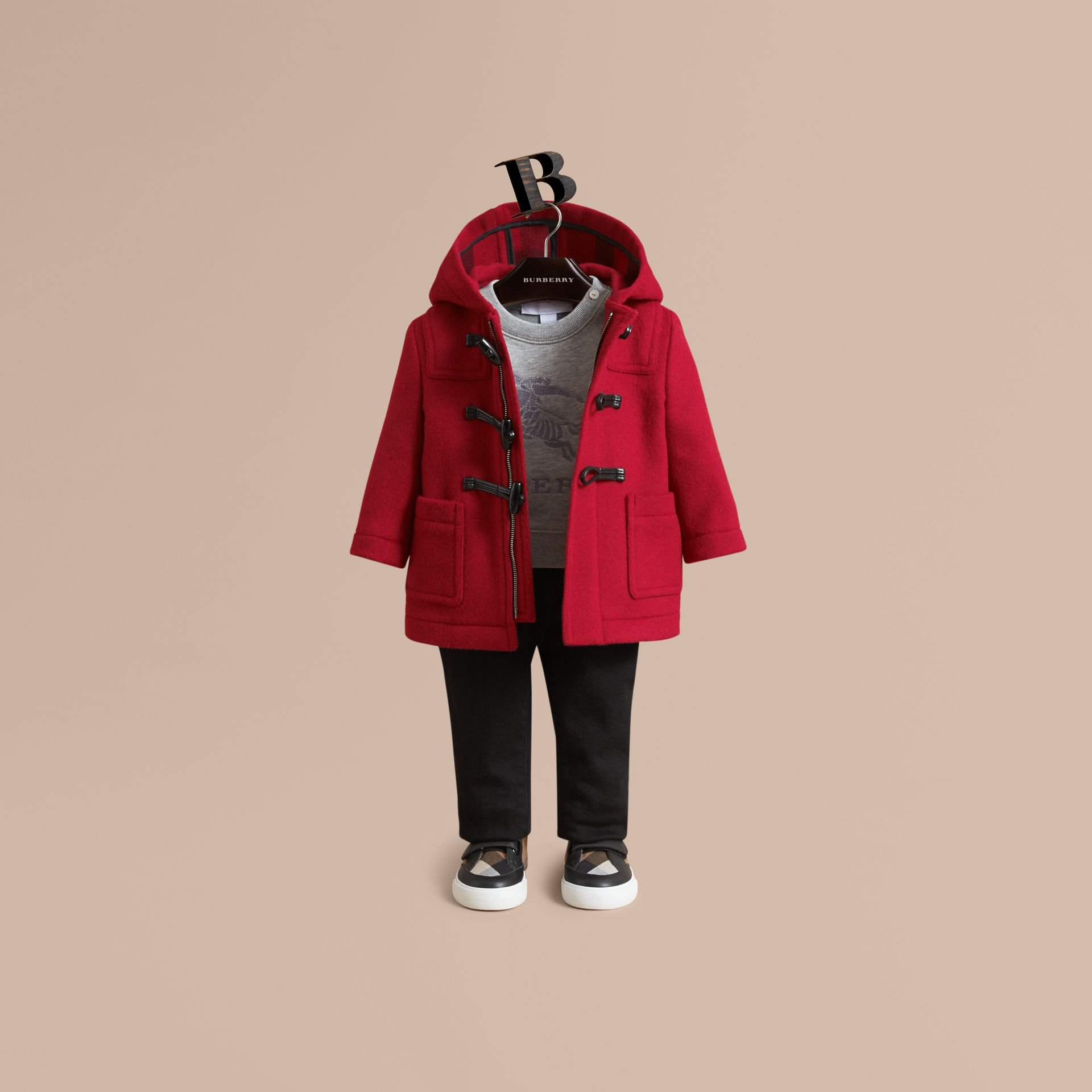 Wool Duffle Coat in Parade Red | Burberry United States - gallery image 2
